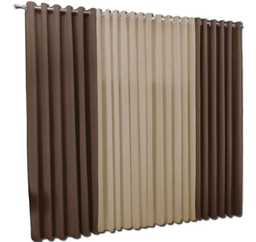 cortina de 6 metros com ilhos - em malha para quarto e sala
