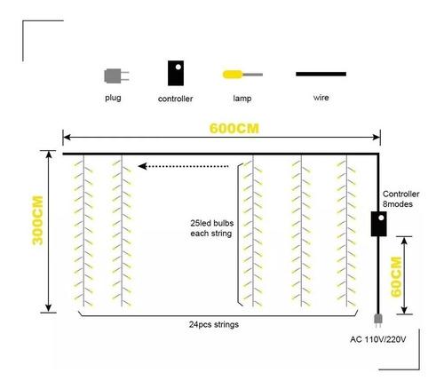 cortina de 608 luces led decoración fiesta 6x3m blanco cál