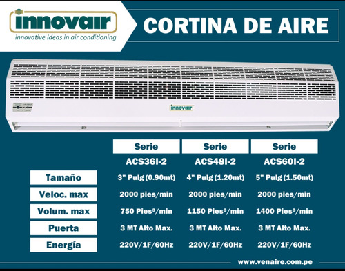 cortina de aire innovair 0.90 mt