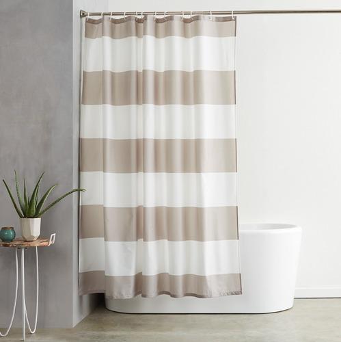 cortina de baño - 183 x 183 cm - franjas gris