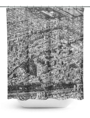 cortina de baño con fotografía aérea santiago de chile