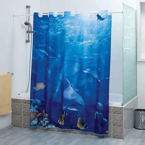 cortina de baño delfines coral marca concord