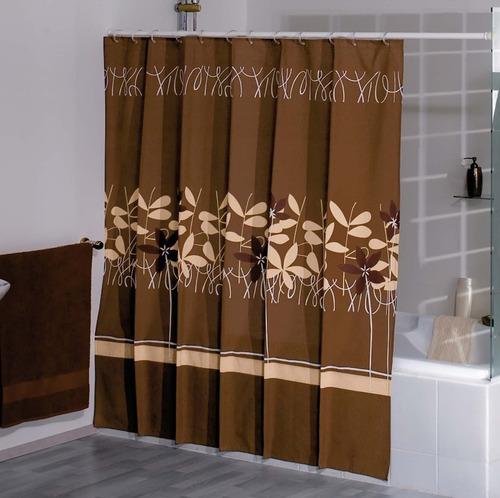 cortina de baño flor de algodón cafe marca concord