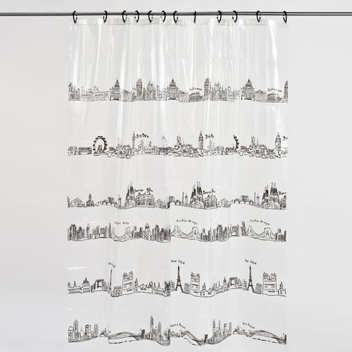cortina de baño modelo metropolis estampado negro baño morph