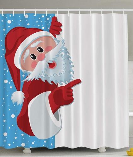 cortina de  baño navideña santa