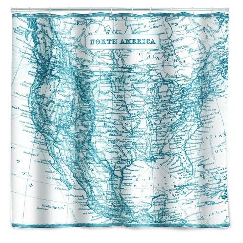 cortina de baño regadera mapa vintage norte américa 1.8 m