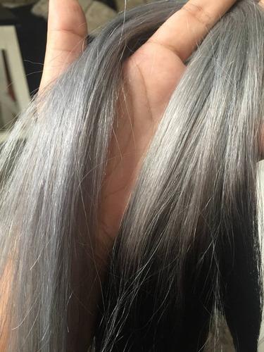 cortina de cabello californiano gris plata 100% humano 18