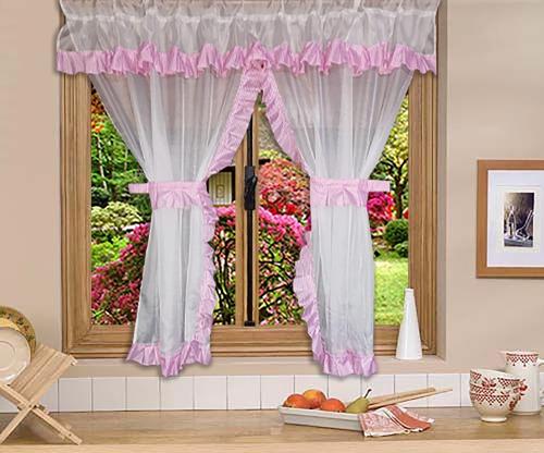 cortina de cocina chica (190x145cm) económica color a elegir