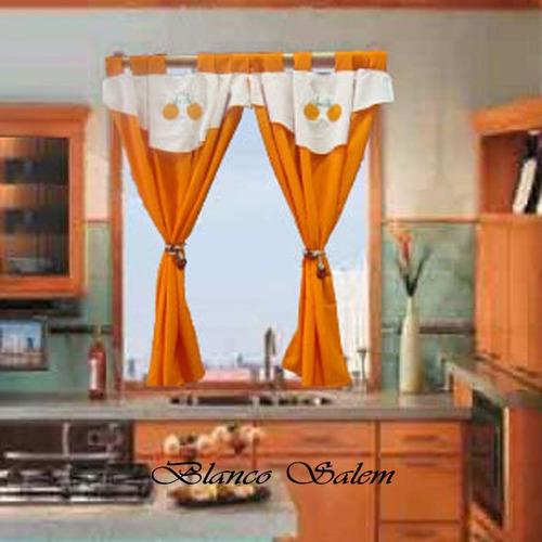 cortina de cocina con faldón bordado. 1.25 x 1.25 mts c/paño