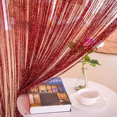 cortina de corda bordô luxo brilho reluzente