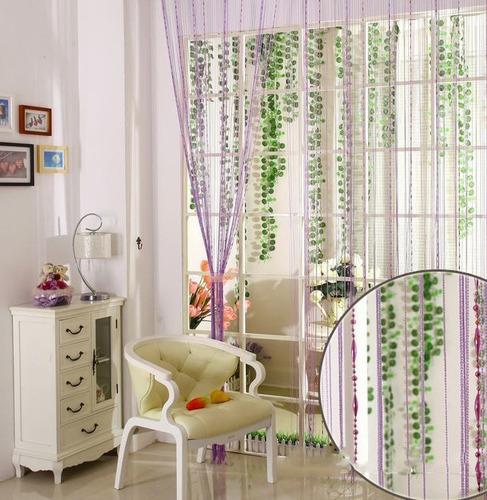 cortina de corda decorativa com contas acrilicas