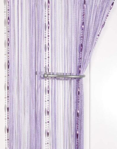cortina de corda decorativa com contas e varão regulável