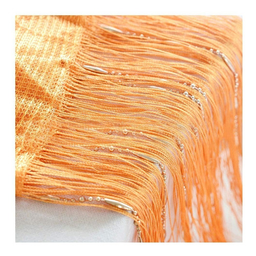 cortina de corda laranja com contas e varão regulável