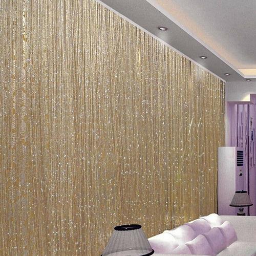 cortina de corda luxo brilho reluzente com varão
