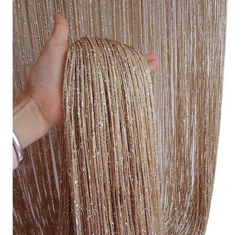 cortina de corda luxo com brilho importada pronta entrega