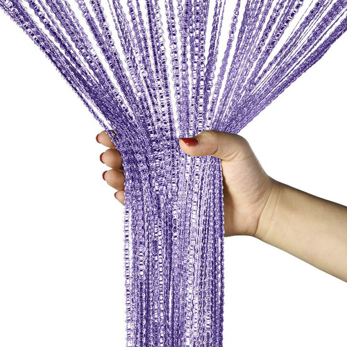 cortina de corda luxo drapeada com fios prata cintilante