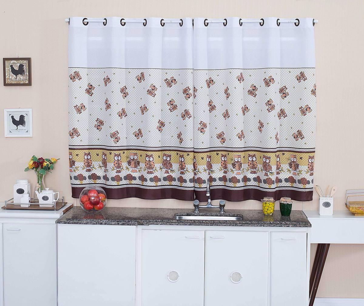 Cortina De Cozinha 2 00 X1 50 C Kit Var O Simples Corujinha R 60
