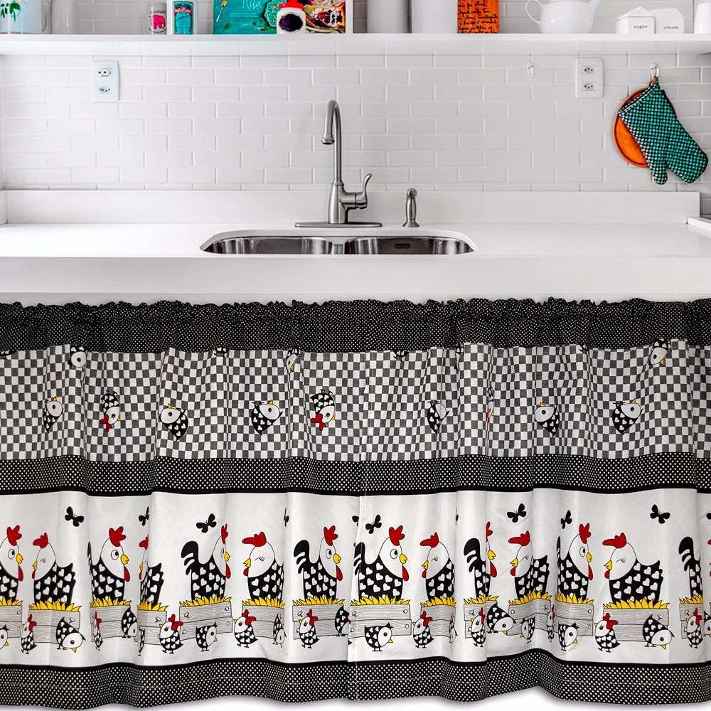 Cortina De Cozinha 2 60×1 40 Cortina De Pia Galinha 2 60×80 R 74