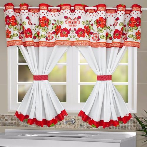 Cortina de cozinha 2 60m x 1 40m flores e joaninha for Cortinas vintage para cocina