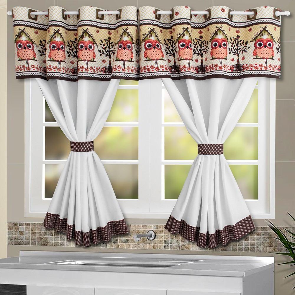 Cortina De Cozinha Coruja 2 60 X 1 20 Tamanho Especial R 54 90 Em