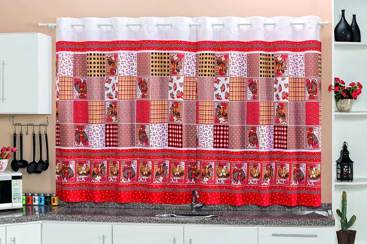 Cortina De Cozinha Estampada Vermelha 2 00×1 30 Oxford Ilh S R 56