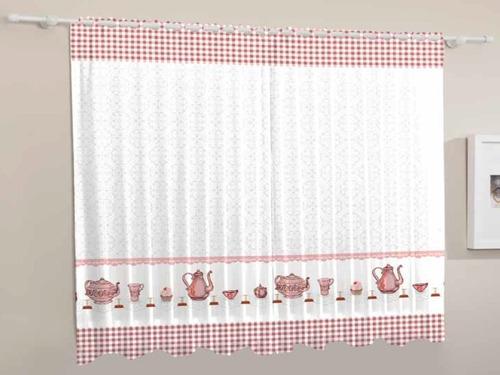 cortina de cozinha hora do chá realce sultan 200x120cm