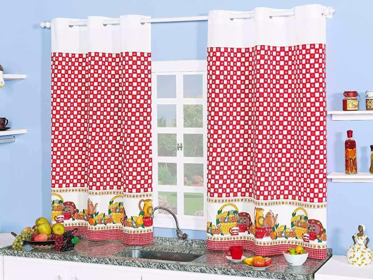 Cortina De Cozinha Para Var O De 2 00m Com Kit Var O R 54 90 Em