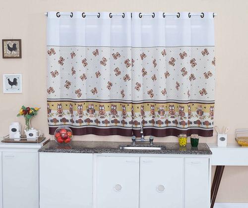 cortina de cozinha vaquinha 200 x 150 + barra suporte branco