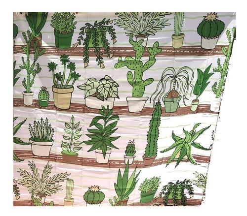 cortina de ducha baño cactus suculentas cactáceas wanderlust