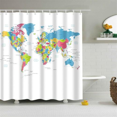 cortina de ducha baño mapamundi mapa wanderlust