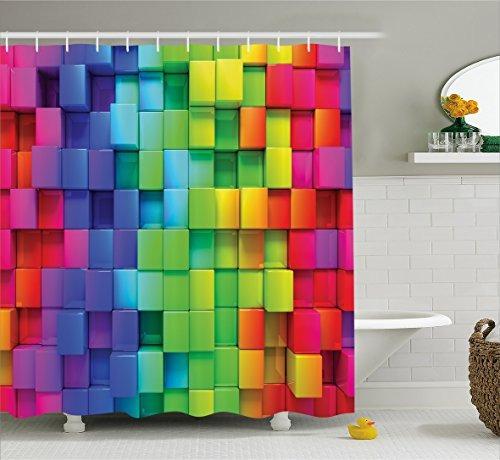 cortina de ducha colorida de la decoración casera de...