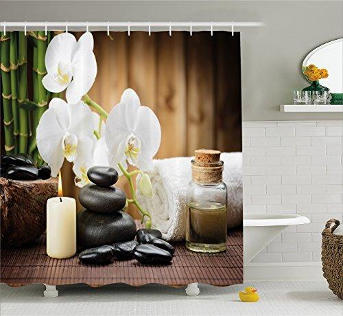 cortina de ducha de decoraci n de spa de ambesonne estilo en mercado libre. Black Bedroom Furniture Sets. Home Design Ideas