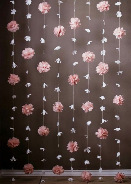 Cortina de flores de papel background decoraci n fiestas for Cortinas para salon beige