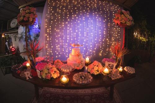 cortina de led (500 luzes) + voal branco