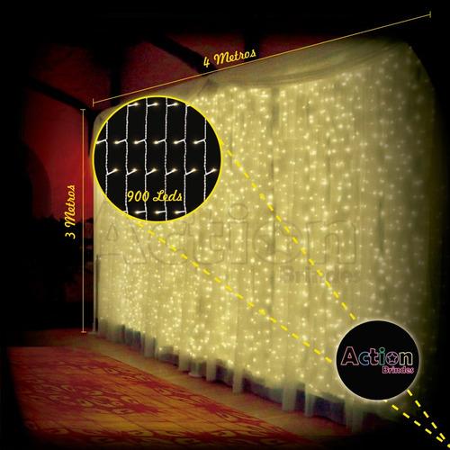 cortina de led amarelo 900 leds 4m x 3m 110v