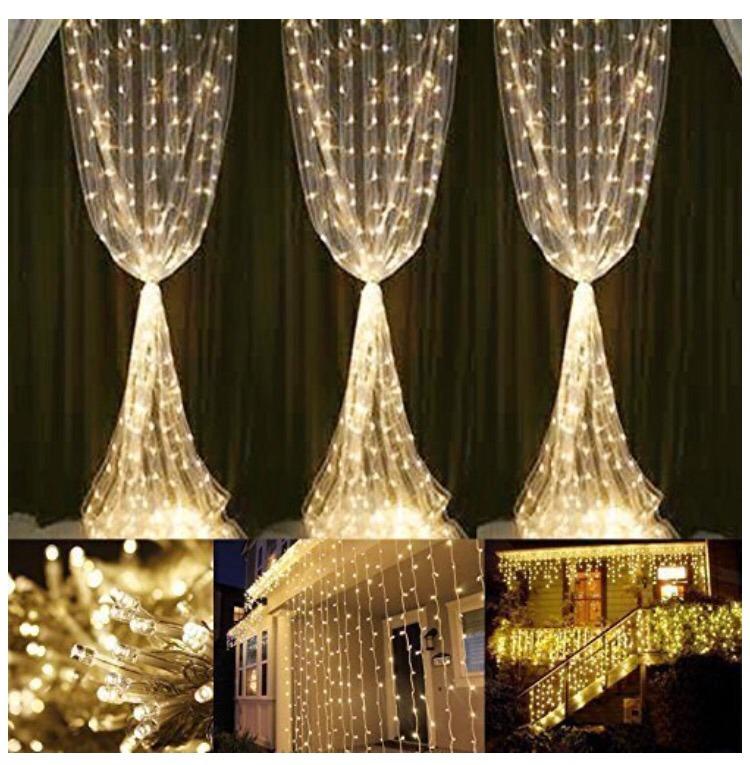Cortina de luces led 6x3 600 led decoraci n navidad bodas for Cortinas con luces
