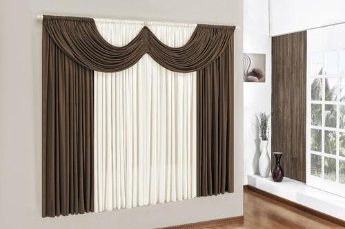 cortina de malha e bandô 2,00x1,80m dispensa passar - cores