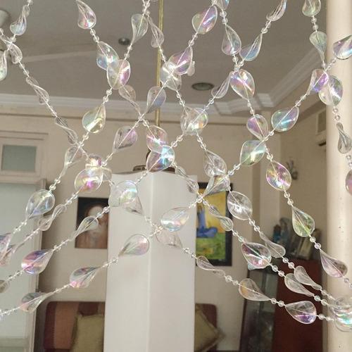 cortina de miçanga acrilica cristal torcido furta cores