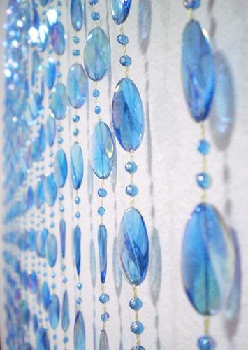 cortina de miçanga acrilica disco azul furta cor