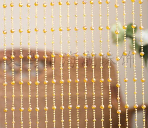 cortina de miçanga dourada cristal acrilica com brilho