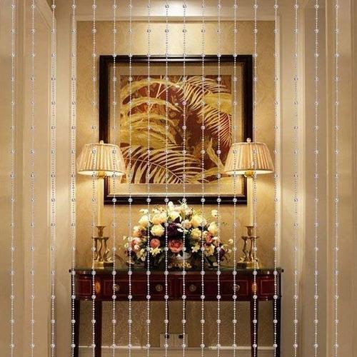 cortina de miçangas acrilicas modelo cristal furta-cor