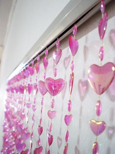 cortina de miçangas contas acrilicas coração