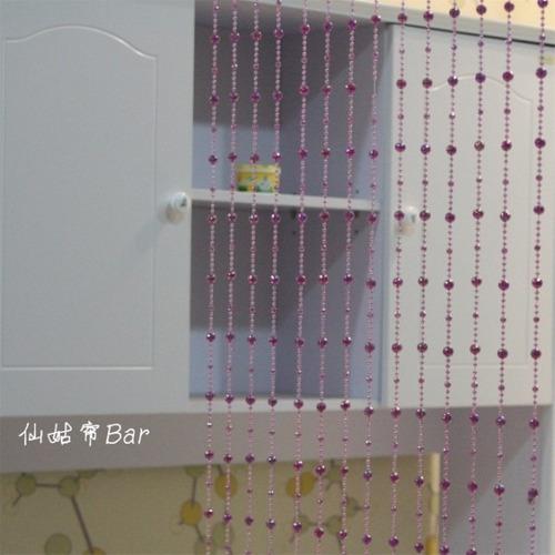 cortina de miçangas e contas acrilica cristal lilás + brinde