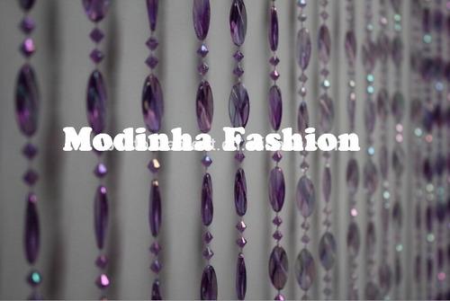 cortina de miçangas e contas acrilicas disco lilás