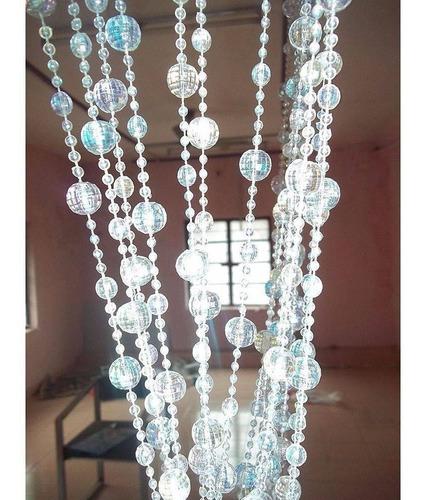 cortina de miçangas e contas acrilicas modelo cristal