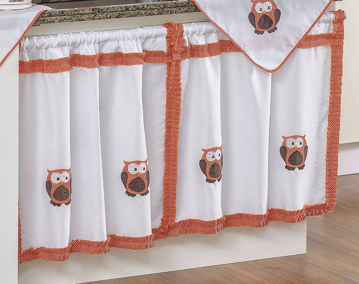 356753f9e cortina de pia bordada coruja laranja decoração cozinha. Carregando zoom.