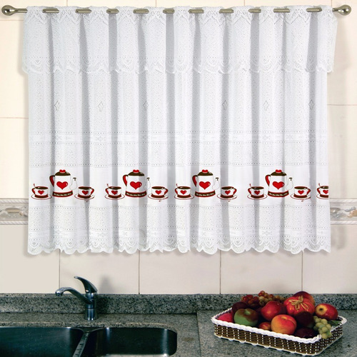 cortina de renda para cozinha 220x120cm jogo de chá