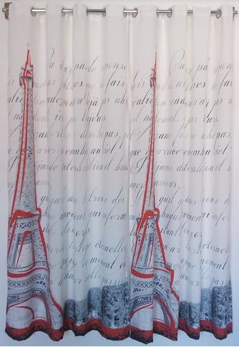 cortina de tela con ojillos estampado digital torre eiffel