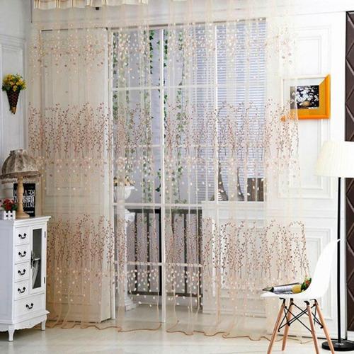 cortina de tule estampa floral marrom claro para varão