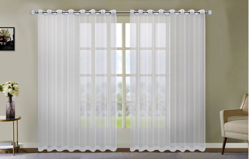 cortina de voil sem forro 6,00 x 2,80 para varão